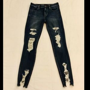 A&E VERY HTF DISTRESSED HIGH RISE SKINNY JEANS